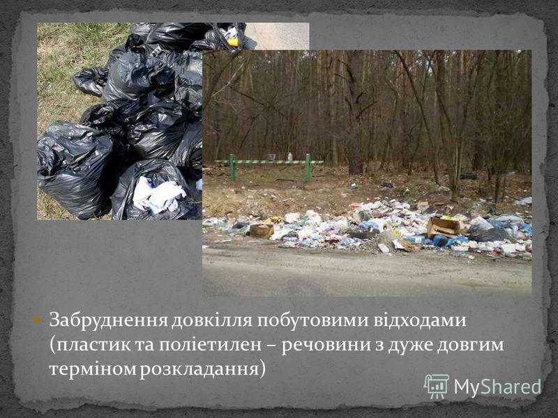Забруднення довкілля побутовими відходами (пластик та поліетилен – речовини з дуже довгим терміном розкладання)