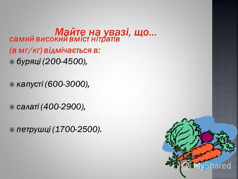 самий високий вміст нітратів (в мг/кг) відмічається в: буряці (200-4500), капусті (600-3000), салаті (400-2900), петрушці (1700-2500).