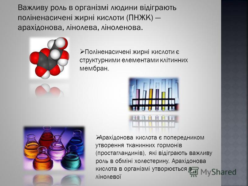 Важливу роль в організмі людини відіграють поліненасичені жирні кислоти (ПНЖК) арахідонова, лінолева, ліноленова. Поліненасичені жирні кислоти є структурними елементами клітинних мембран. Арахідонова кислота є попередником утворення тканинних гормоні