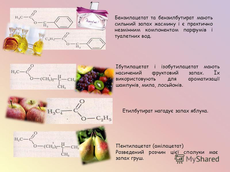 Бензилацетат та бензилбутират мають сильний запах жасмину і є практично незмінним компонентом парфумів і туалетних вод. Етилбутират нагадує запах яблука. Пентилацетат (амілацетат) Розведений розчин цієї сполуки має запах груш. Ібутилацетат і ізобутил