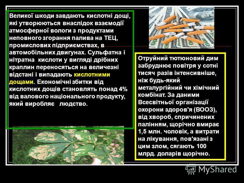 Отруйний тютюновий дим забруднює повітря у сотні тисяч разів інтенсивніше, ніж будь-який металургійний чи хімічний комбінат. За даними Всесвітньої організації охорони здоров'я (ВООЗ), від хвороб, спричинених палінням, щорічно вмирає 1,5 млн. чоловік,