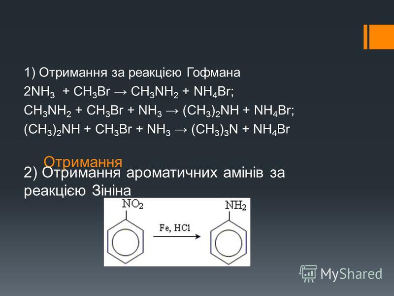 Отримання 1) Отримання за реакцією Гофмана 2NН 3 + СН 3 Br СН 3 NН 2 + NН 4 Br; СН 3 NН 2 + CН 3 Br + NН 3 (СН 3 ) 2 NН + NН 4 Br; (СН 3 ) 2 NН + CН 3 Br + NН 3 (СН 3 ) 3 N + NН 4 Br 2) Отримання ароматичних амінів за реакцією Зініна