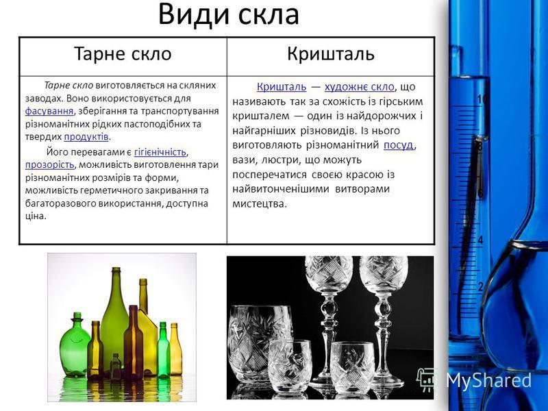 ProPowerPoint.Ru Тарне склоКришталь Тарне скло виготовляється на скляних заводах. Воно використовується для фасування, зберігання та транспортування різноманітних рідких пастоподібних та твердих продуктів. фасуванняпродуктів Його перевагами є гігієні