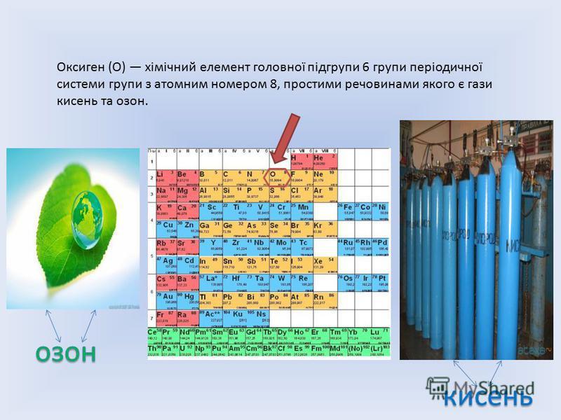 Оксиген (О) хімічний елемент головної підгрупи 6 групи періодичної системи групи з атомним номером 8, простими речовинами якого є гази кисень та озон.