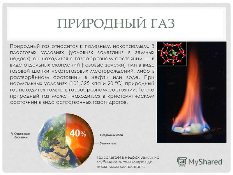 ПРИРОДНЫЙ ГАЗ Природный газ относится к полезным ископаемым. В пластовых условиях (условиях залегания в земных недрах) он находится в газообразном состоянии в виде отдельных скоплений (газовые залежи) или в виде газовой шапки нефтегазовых месторожден