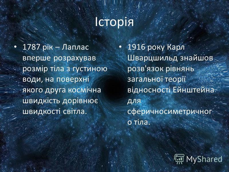 Історія 1787 рік – Лаплас вперше розрахував розмір тіла з густиною води, на поверхні якого друга космічна швидкість дорівнює швидкості світла. 1916 року Карл Шварцшильд знайшов розв'язок рівнянь загальної теорії відносності Ейнштейна для сферичносиме