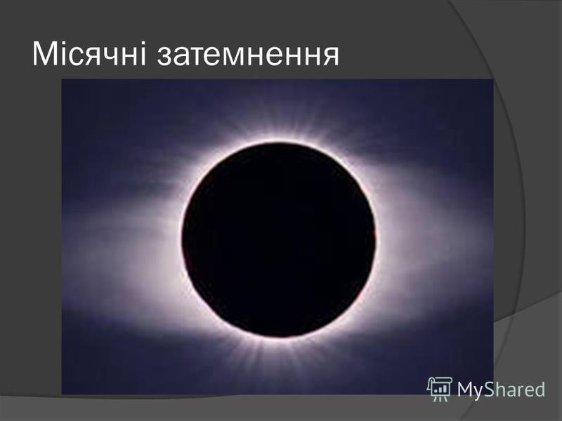 Місячні затемнення Іноді Місяць, який мандрує по небу серед зірок, раптом набуває страхітливого червоного кольору. Це означає, що Місяць опинився у тіні Землі. У цей час на нього падає сонячне світло, яке відбивається від земної поверхні й має червон