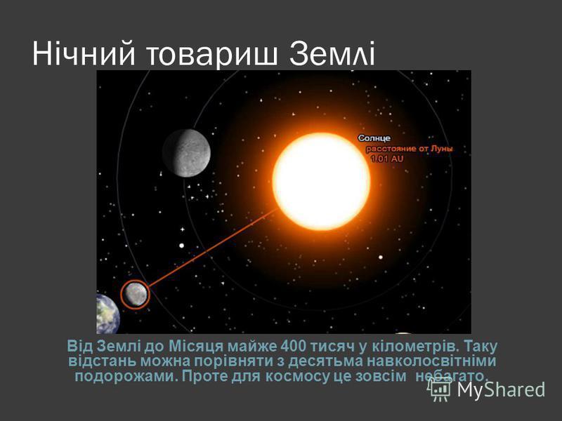 Нічний товариш Землі Від Землі до Місяця майже 400 тисяч у кілометрів. Таку відстань можна порівняти з десятьма навколосвітніми подорожами. Проте для космосу це зовсім небагато.