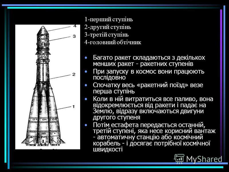 1-перший ступінь 2-другий ступінь 3-третій ступінь 4-головний обтічник Багато ракет складаються з декількох менших ракет - ракетних ступенів При запуску в космос вони працюють послідовно Спочатку весь «ракетний поїзд» везе перша ступінь Коли в ній ви