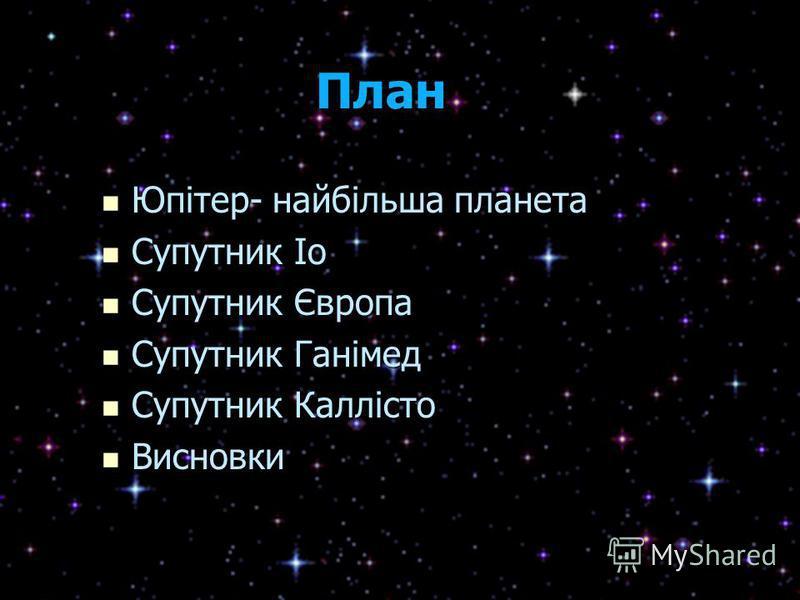 План План Юпітер- найбільша планета Юпітер- найбільша планета Супутник Іо Супутник Іо Супутник Європа Супутник Європа Супутник Ганімед Супутник Ганімед Супутник Каллісто Супутник Каллісто Висновки Висновки