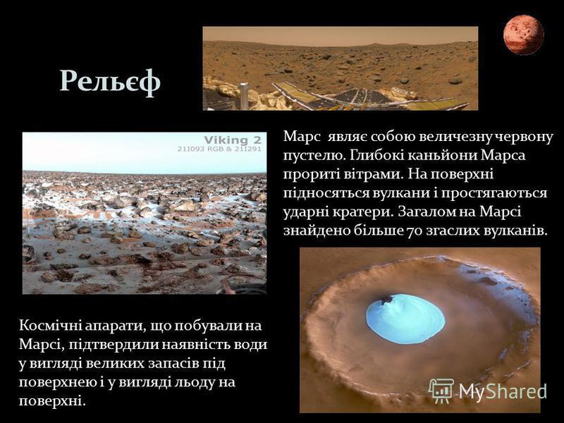 Рельєф Космічні апарати, що побували на Марсі, підтвердили наявність води у вигляді великих запасів під поверхнею і у вигляді льоду на поверхні. Марс являє собою величезну червону пустелю. Глибокі каньйони Марса прориті вітрами. На поверхні підносять