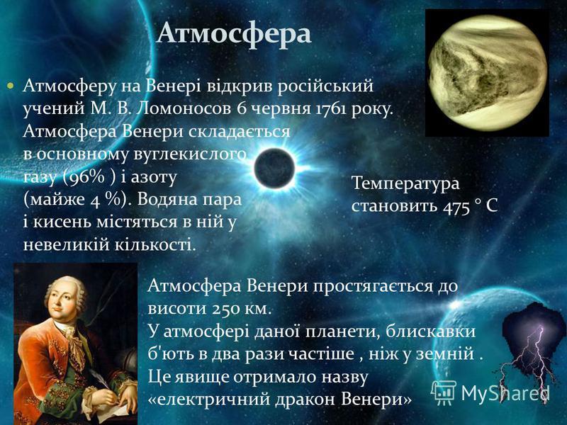 Атмосфера Атмосферу на Венері відкрив російський учений М. В. Ломоносов 6 червня 1761 року. Атмосфера Венери складається в основному вуглекислого газу (96% ) і азоту (майже 4 %). Водяна пара і кисень містяться в ній у невеликій кількості. Атмосфера В