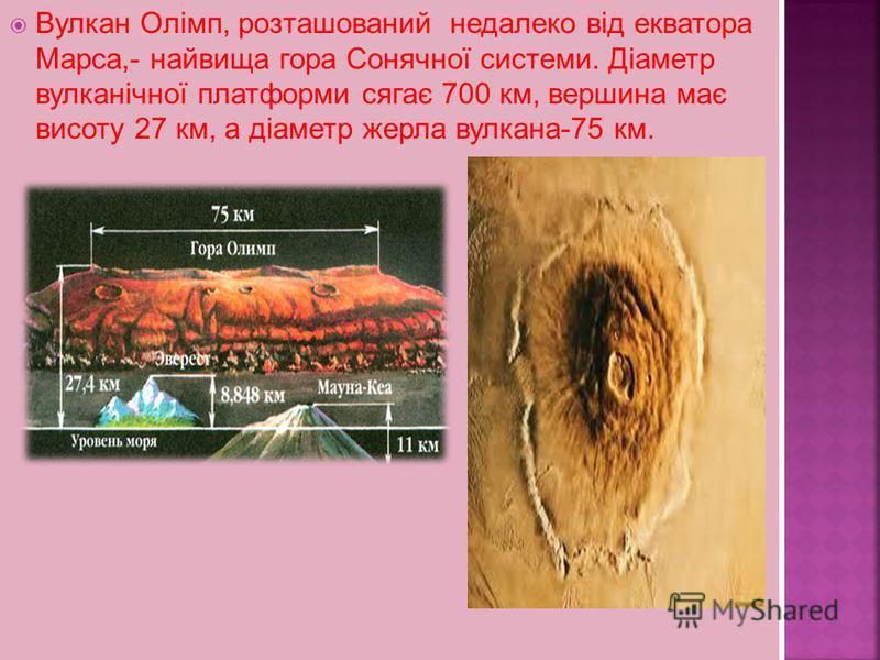 Вулкан Олімп, розташований недалеко від екватора Марса,- найвища гора Сонячної системи. Діаметр вулканічної платформи сягає 700 км, вершина має висоту 27 км, а діаметр жерла вулкана-75 км.