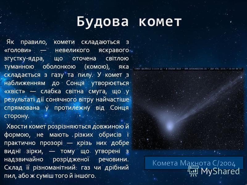 Як правило, комети складаються з «голови» невеликого яскравого згустку-ядра, що оточена світлою туманною оболонкою (комою), яка складається з газу та пилу. У комет з наближенням до Сонця утворюється «хвіст» слабка світна смуга, що у результаті дії со