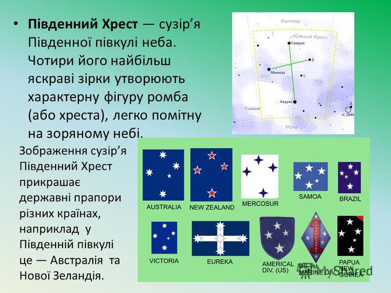 Південний Хрест сузіря Південної півкулі неба. Чотири його найбільш яскраві зірки утворюють характерну фігуру ромба (або хреста), легко помітну на зоряному небі. Зображення сузіря Південний Хрест прикрашає державні прапори різних країнах, наприклад у