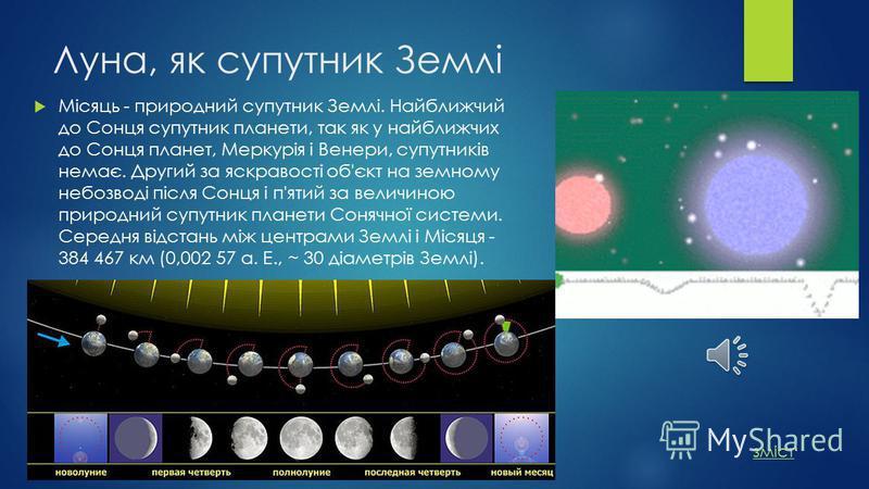 Луна, як супутник Землі Місяць - природний супутник Землі. Найближчий до Сонця супутник планети, так як у найближчих до Сонця планет, Меркурія і Венери, супутників немає. Другий за яскравості об'єкт на земному небозводі після Сонця і п'ятий за величи