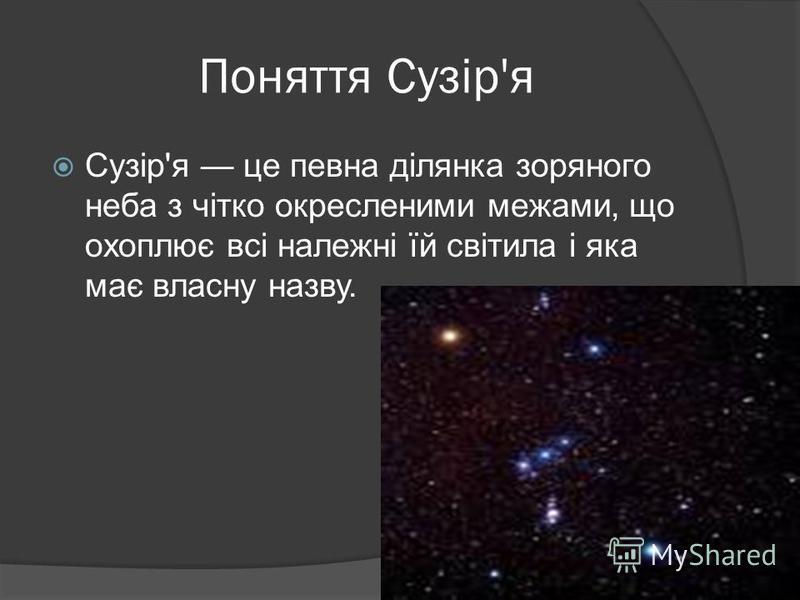 Поняття Сузір'я Сузір'я це певна ділянка зоряного неба з чітко окресленими межами, що охоплює всі належні їй світила і яка має власну назву.