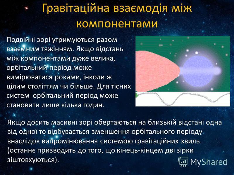 Гравітаційна взаємодія між компонентами Подвійні зорі утримуються разом взаємним тяжінням. Якщо відстань між компонентами дуже велика, орбітальний період може вимірюватися роками, інколи ж цілим століттям чи більше. Для тісних систем орбітальний пері
