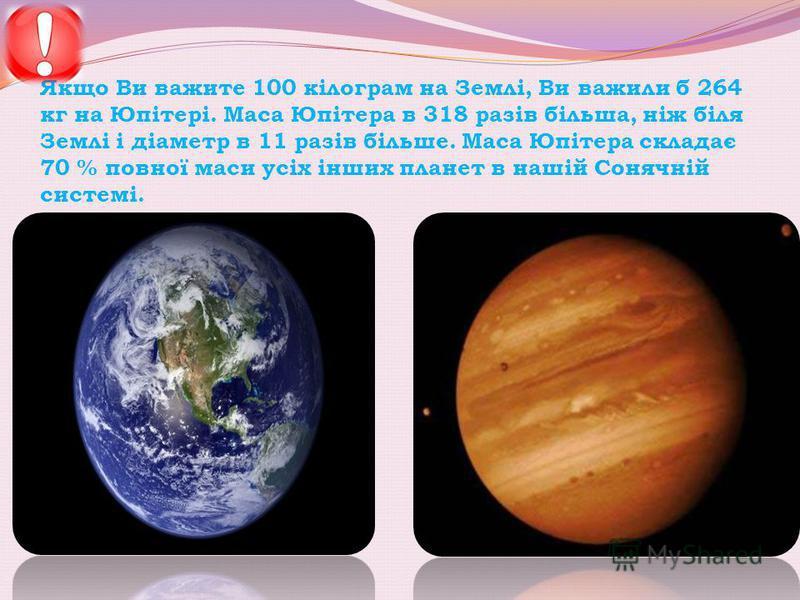 Якщо Ви важите 100 кілограм на Землі, Ви важили б 264 кг на Юпітері. Маса Юпітера в 318 разів більша, ніж біля Землі і діаметр в 11 разів більше. Маса Юпітера складає 70 % повної маси усіх інших планет в нашій Сонячній системі.
