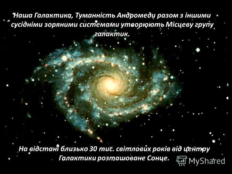 Наша Галактика, Туманність Андромеди разом з іншими сусідніми зоряними системами утворюють Місцеву групу галактик. На відстані близько 30 тис. світлових років від центру Галактики розташоване Сонце.