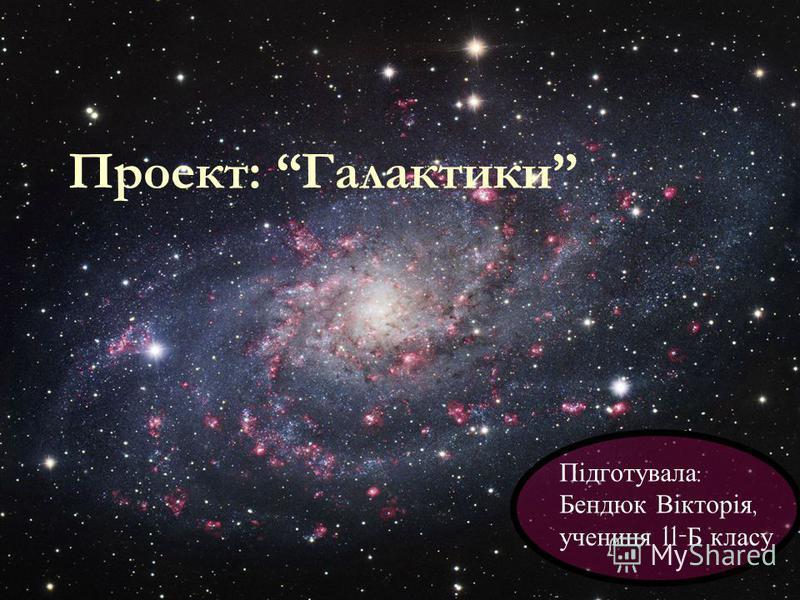 Проект: Галактики Підготувала : Бендюк Вікторія, учениця 11- Б класу