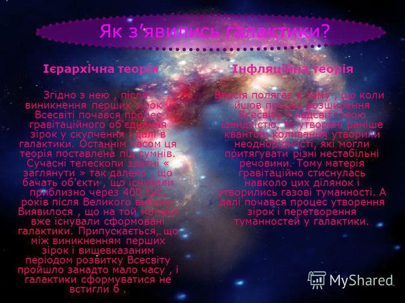 Як зявились галактики? Ієрархічна теорія Згідно з нею, після виникнення перших зірок у Всесвіті почався процес гравітаційного об'єднання зірок у скупчення і далі в галактики. Останнім часом ця теорія поставлена під сумнів. Сучасні телескопи здатні «