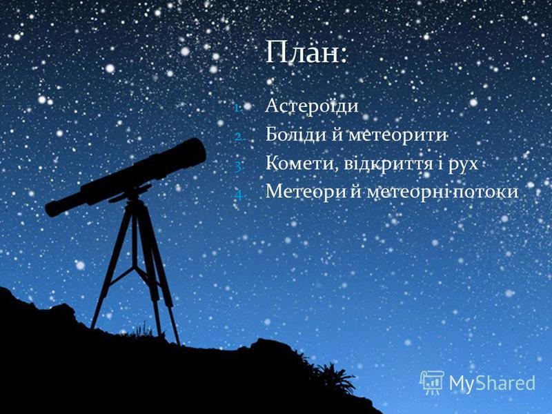 1. Астероїди 2. Боліди й метеорити 3. Комети, відкриття і рух 4. Метеори й метеорні потоки