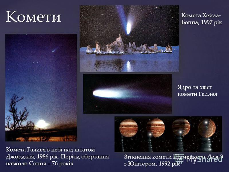 Комети Комета Галлея в небі над штатом Джорджія, 1986 рік. Період обертання навколо Сонця – 76 років Комета Хейла- Боппа, 1997 рік Зіткнення комети Шумейкера-Леві-9 з Юпітером, 1992 рік Ядро та хвіст комети Галлея