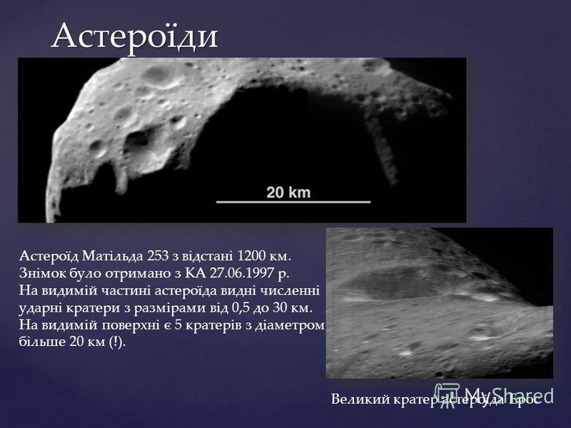 Астероїди Астероїд Матільда 253 з відстані 1200 км. Знімок було отримано з КА 27.06.1997 р. На видимій частині астероїда видні численні ударні кратери з размірами від 0,5 до 30 км. На видимій поверхні є 5 кратерів з діаметром більше 20 км (!). Велики