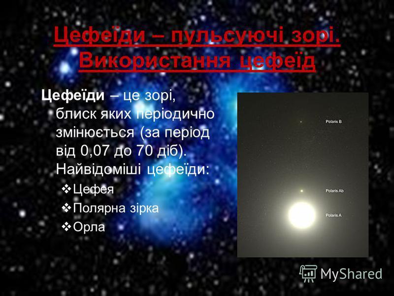 Цефеїди – пульсуючі зорі. Використання цефеїд Цефеїди – це зорі, блиск яких періодично змінюється (за період від 0,07 до 70 діб). Найвідоміші цефеїди: Цефея Полярна зірка Орла