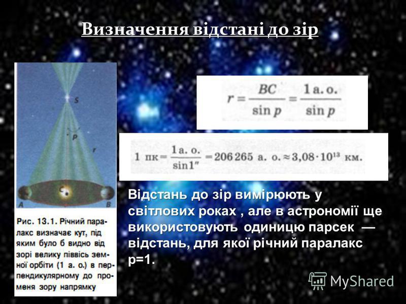 Визначення відстані до зір Відстань до зір вимірюють у світлових роках, але в астрономії ще використовують одиницю парсек відстань, для якої річний паралакс p=1.