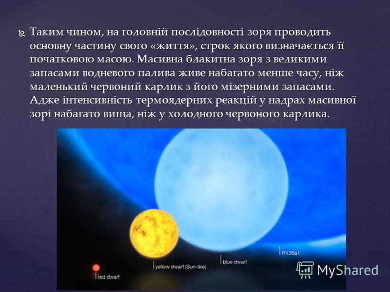 Таким чином, на головній послідовності зоря проводить основну частину свого «життя», строк якого визначається її початковою масою. Масивна блакитна зоря з великими запасами водневого палива живе набагато менше часу, ніж маленький червоний карлик з йо