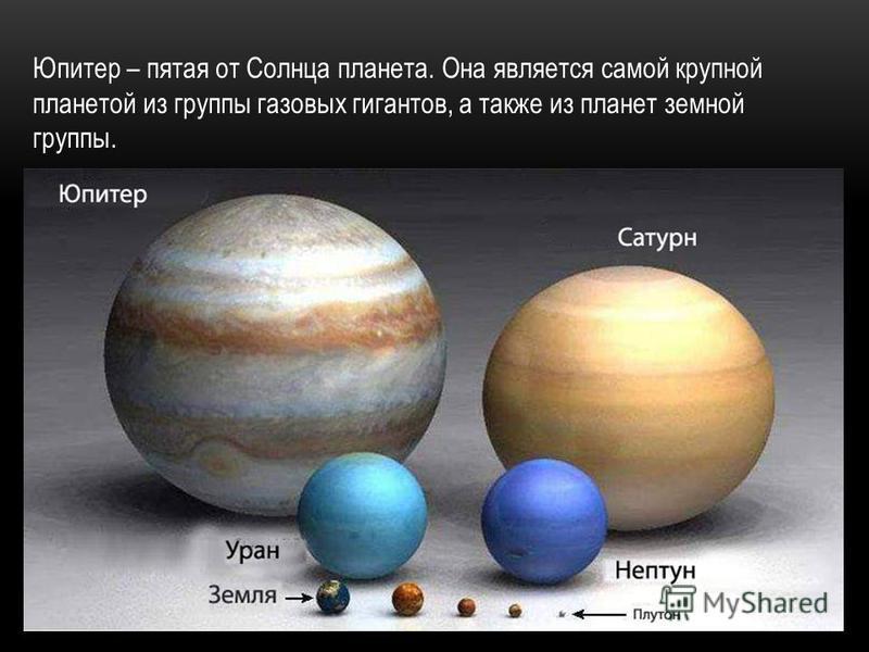 Юпитер – пятая от Солнца планета. Она является самой крупной планетой из группы газовых гигантов, а также из планет земной группы.