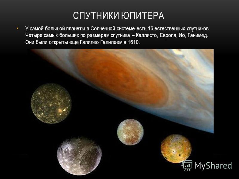 СПУТНИКИ ЮПИТЕРА У самой большой планеты в Солнечной системе есть 16 естественных спутников. Четыре самых больших по размерам спутника – Каллисто, Европа, Ио, Ганимед. Они были открыты еще Галилео Галилеем в 1610.