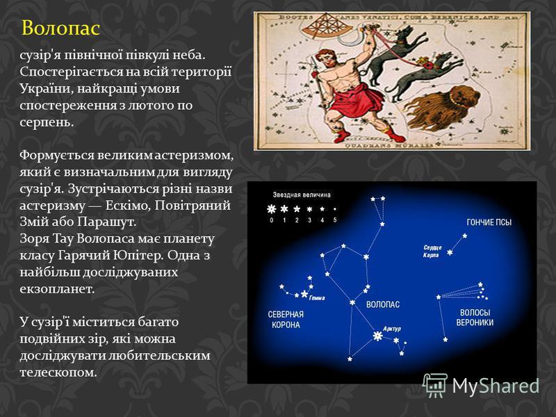Волопас сузір ' я північної півкулі неба. Спостерігається на всій території України, найкращі умови спостереження з лютого по серпень. Формується великим астеризмом, який є визначальним для вигляду сузір ' я. Зустрічаються різні назви астеризму Ескім