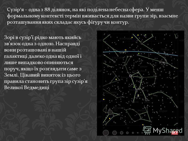 Сузір я – одна з 88 ділянок, на які поділена небесна сфера. У менш формальному контексті термін вживається для назви групи зір, взаємне розташування яких складає якусь фігуру чи контур. Зорі в сузір ' ї рідко мають якийсь зв ' язок одна з одною. Насп