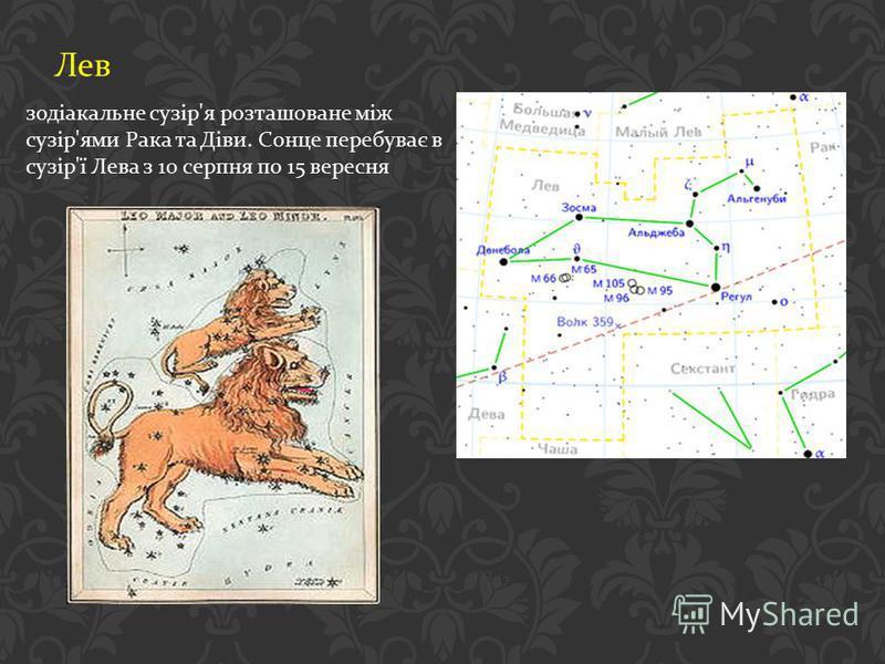 Лев зодіакальне сузір ' я розташоване між сузір ' ями Рака та Діви. Сонце перебуває в сузір ' ї Лева з 10 серпня по 15 вересня