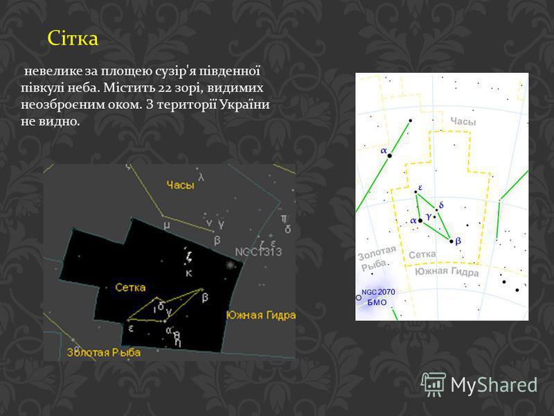 Сітка невелике за площею сузір ' я південної півкулі неба. Містить 22 зорі, видимих неозброєним оком. З території України не видно.