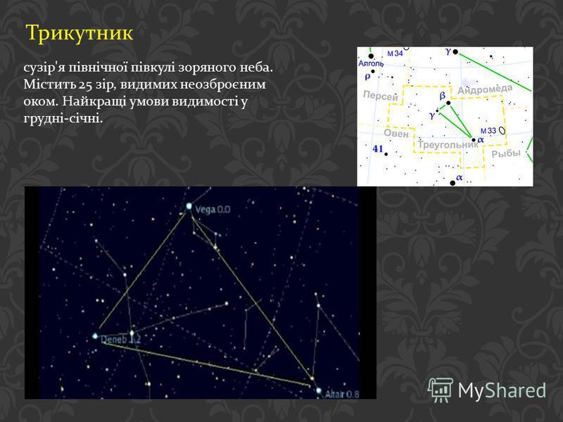 Трикутник сузір ' я північної півкулі зоряного неба. Містить 25 зір, видимих неозброєним оком. Найкращі умови видимості у грудні - січні.