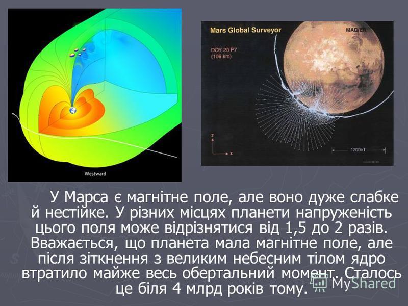 У Марса є магнітне поле, але воно дуже слабке й нестійке. У різних місцях планети напруженість цього поля може відрізнятися від 1,5 до 2 разів. Вважається, що планета мала магнітне поле, але після зіткнення з великим небесним тілом ядро втратило майж