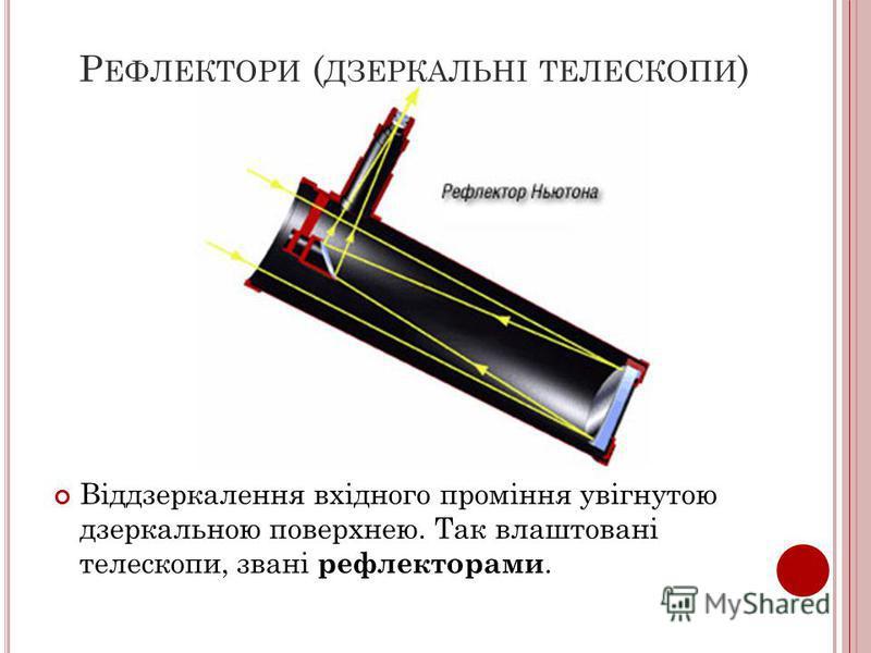 Р ЕФЛЕКТОРИ ( ДЗЕРКАЛЬНІ ТЕЛЕСКОПИ ) Віддзеркалення вхідного проміння увігнутою дзеркальною поверхнею. Так влаштовані телескопи, звані рефлекторами.