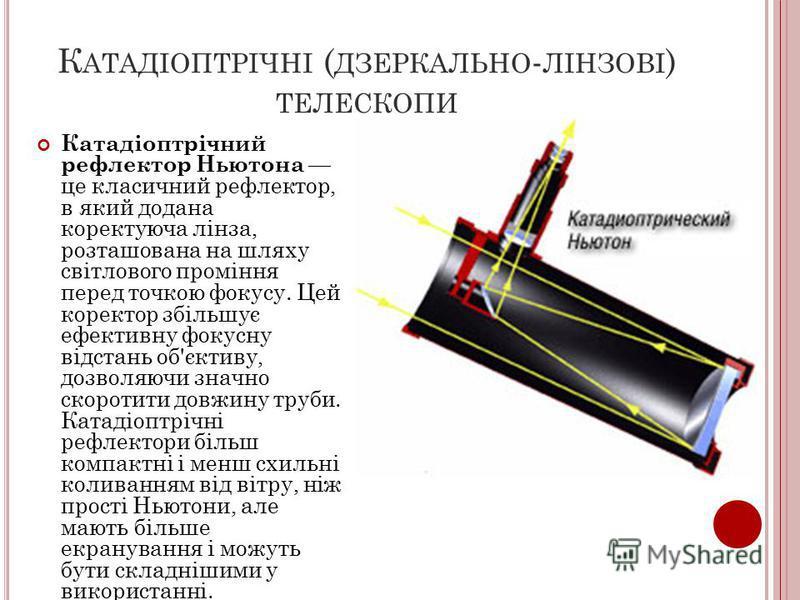 К АТАДІОПТРІЧНІ ( ДЗЕРКАЛЬНО - ЛІНЗОВІ ) ТЕЛЕСКОПИ Катадіоптрічний рефлектор Ньютона це класичний рефлектор, в який додана коректуюча лінза, розташована на шляху світлового проміння перед точкою фокусу. Цей коректор збільшує ефективну фокусну відстан