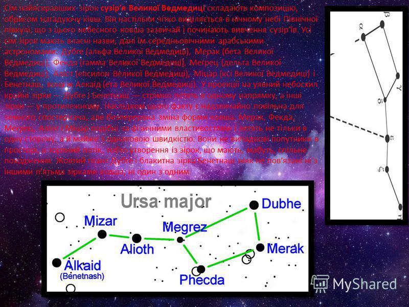 Сім найяскравіших зірок сузіря Великої Ведмедиці складають композицію, обрисом нагадуючу ківш. Він настільки чітко виділяється в нічному небі Північної півкулі, що з цього небесного ковша зазвичай і починають вивчення сузірїв. Усі сім зірок мають вла