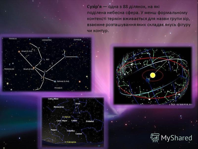 Сузір'я одна з 88 ділянок, на які поділена небесна сфера. У менш формальному контексті термін вживається для назви групи зір, взаємне розташування яких складає якусь фігуру чи контур.