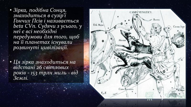 Зірка, подібна Сонця, знаходиться в сузір'ї Гончих Псів і називається beta CVn. Судячи з усього, у неї є всі необхідні передумови для того, щоб на її планетах існували розвинуті цивілізації. Ця зірка знаходиться на відстані 26 світлових років - 153 т