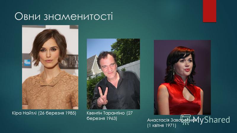 Овни знаменитості Кіра Найтлі (26 березня 1985)Квентін Тарантіно (27 березня 1963) Анастасія Заворотнюк (1 квітня 1971)