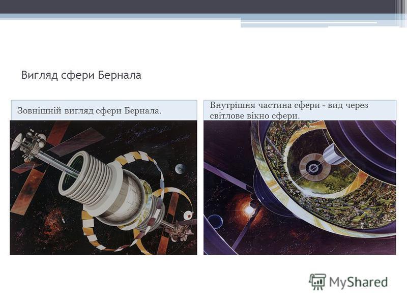 Вигляд сфери Бернала Зовнішній вигляд сфери Бернала. Внутрішня частина сфери - вид через світлове вікно сфери.