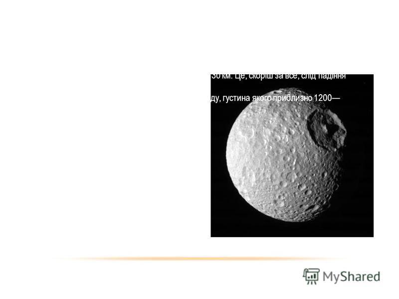 МІМАС Мімас десятий за віддаленістю від планети і сьомий за розміром природний супутник Сатурна, був відкритий В. Гершелем у 1789 році. Він має сферичну форму. Діаметр 400 км. Радіус орбіти 185,5 тис. км. На супутнику наявний великий кратер, який має