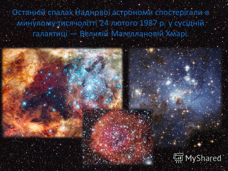 Останній спалах Наднової астрономи спостерігали в минулому тисячолітті 24 лютого 1987 р. у сусідній галактиці Великій Магеллановій Хмарі.