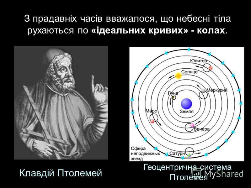 З прадавніх часів вважалося, що небесні тіла рухаються по «ідеальних кривих» - колах. Геоцентрична система Птолемея Клавдій Птолемей